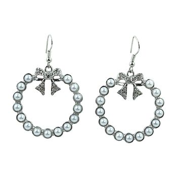 Gone to Paris Imitation Pearl Hoop & Sparkling Bow Earrings