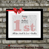 Love is All You Need Is Love Beatle Lyrics Art Song: Unique First Wedding 1st Anniversary Gift Wedding Custom Wall Art Poster Print Picture