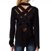 Weaved Back Blouse in Black - ShopSosie.com