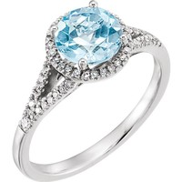 14kt White Gold 1/5 CTW Diamond & Round Sky Blue Topaz Halo Ring