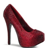 Teeze Ruby Red Rhinestone Platform Pump by Bordello Shoes