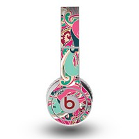 The Colorful Pink & Teal Seamless Paisley Skin for the Original Beats by Dre Wireless Headphones