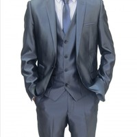 Mens Shiny Blue designer Three Piece Suit with Black trim (Robson)