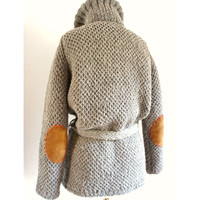 Wool Roll Neck Mexican Sweater in Solid Grey