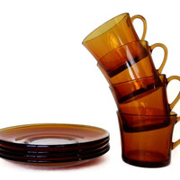 Duralex Coffee Cups, Saucers, Amber Glass Tea Cups, Retro Brown Glass, France