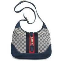 ICIKUG3 Gucci Jackie Original GG Shoulder Bag Stripe Classic Medium Handbag Blue Navy Red New