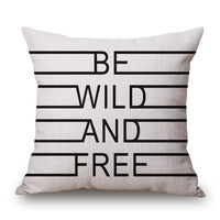 Free and Wild Throw Pillow