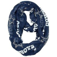 NFL Dallas Cowboys Sheer Infinity Scarf, One Size, Blue