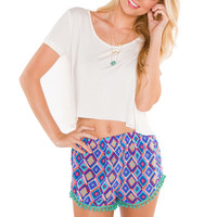 Trendy Pop Pom Pom Short - Teal