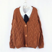 V-neck Single Button Batwing Cable Short Cardigan