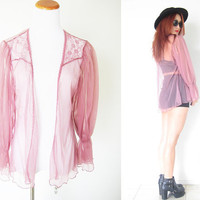Vintage pink cheer puff sleeves ruffle lace lingerie hippie bohemian boho festival blouse duster spring summer cover