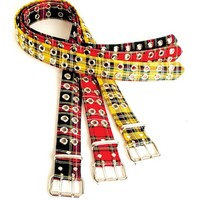 "Red & Black Plaid 2-Row Silver Eyelet Grommet Leather Belt 1-3/4"" Wide"