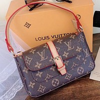LV New fashion monogram print leather handbag shoulder bag Coffee