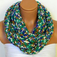 colors from forest,Knitted infinity Scarf. Block Infinity Scarf. Loop Scarf, Circle Scarf, Neck Warmer.