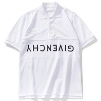 Givenchy 2019 men's inverted embroidery letter polo shirt round neck T-shirt White