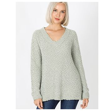 Casual to Classy Sage V Neck Popcorn Sweater