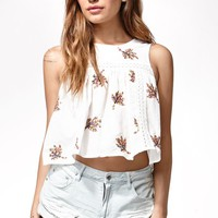 Renamed Embroidered Leaf Lace Inset Tank Top - Womens Shirts - Multi