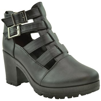 Womens Cutout Chunky Heel Ankle Bootie Black