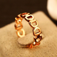 New fashion letter ring women accessories Golden