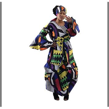 African Abstract Print Flared Maxi Dress