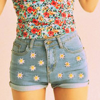 "Sale The ""Daisy"" high waisted denim shorts"