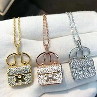 Hermes Fashionable Women Delicate Diamond Bag Type Necklace Accessories Jewelry