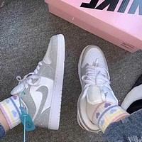 Nike AIR Jordan AJ1 Gypsophila Reflective Low-Top Shoes Ladies Sports Casual Shoes Running Shoes
