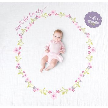 Isn't She Lovely Floral - Baby's First Year Milestone Swaddle & Cards
