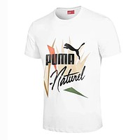 PUMA New Summer Men Casual Print Sport Round Collar T-Shirt Top White