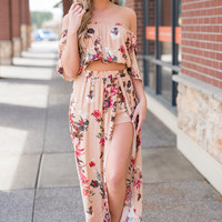 In The Caribbean Floral Off The Shoulder Crop Top And Cinched Waist Maxi Skirt Set (Blush)