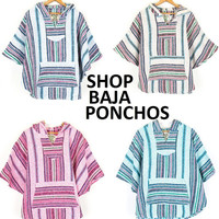 Mexican Threads Baja Poncho Hoodie Drug Rug Pullover Pancho Pink