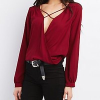 WRAPPED FRONT X-STRAP BLOUSE
