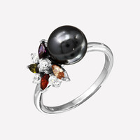 Multi Color Flower Sterling Silver Ring With Black Synthetic Pearl