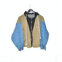 vintage hooded jean jacket 90s GRUNGE contrasting sleeves slouchy color blocked DENIM bomber jacket os