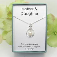Gift for mom from daughter, Mother of the Bride gift from Bride necklace, Sterling Silver Freshwater pearl infinity necklace Mother Daughter