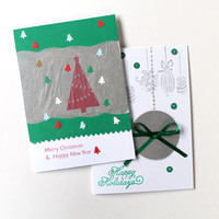 Christmas Card Set of 10 / Two Different Designs / Handmade Holiday Cards