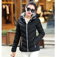 2017 autumn and winter Down new Korean female thick coat fashion feather padded jacket women short paragraph Slim parkas 7349