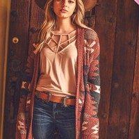 Tribal Print Plush Cardigan with Pockets - VOLUME