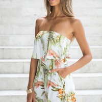 Florida Romper Green Print - Clothing