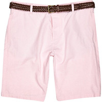 River Island MensPink Oxford belted shorts
