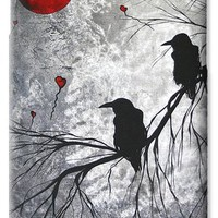 Original Abstract Surreal Raven Red Blood Moon Painting The Overseers by MADART iPhone 6 Case / iPhone 6 Cover for Sale by Megan Duncanson