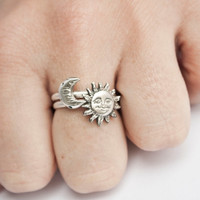 Sun and Moon Stacking Ring Set