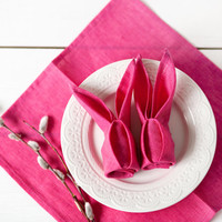 Neon Pink Linen napkins - Set of 6 11x11 inch size - Easter houseware