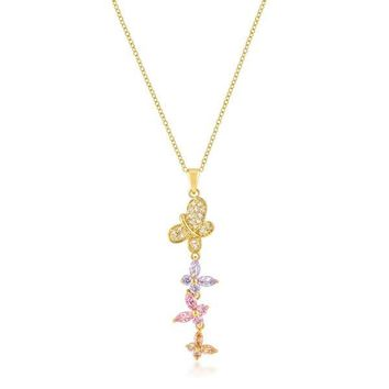 Geeta Multi Color Butterfly CZ Gold Pendant