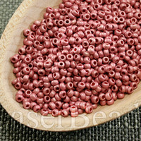 Size 11 seed beads. Czech rocailles 20g. Frosted Pink Metallic Opaque. 28 MET
