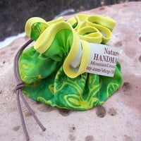 Nature Inspired Draw String Handsewn Green & Yellow Batik Fabric Jewelry Accessory Pouch Gift Bag Purse Travel Luggage