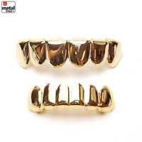 Jewelry Kay style Hip Hop GRILLZ SET 14K IP Gold Plated Top & Bottom Plain Mouth Cap Teeth LS001 G