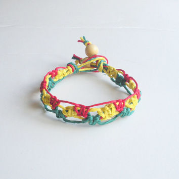 Rasta Hemp Bracelet in Red, Yellow and Green Lacy Pattern, ready to ship.