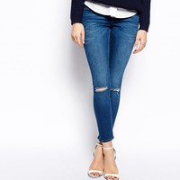 ASOS Whitby Low Rise Skinny Ankle Grazer Jeans in Faded Authentic Dark