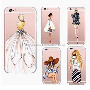 New Arrival Beautiful Fashion Girl Painted Ultra Thin Soft TPU Phone Case Cover for Apple iPhone 6 6S Plus Rubber Funda Cover